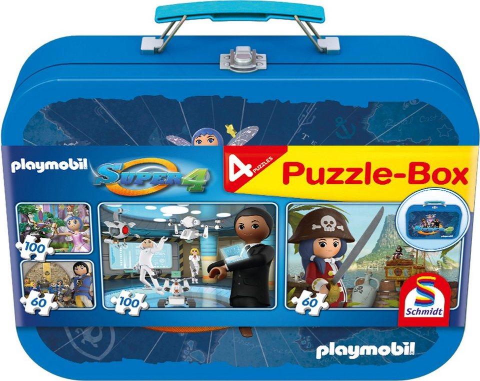 Schmidt Spiele Kinderpuzzleset mit 2x60 und 2x100 Teilen, »Puzzlebox im Metallkoffer, Super 4«