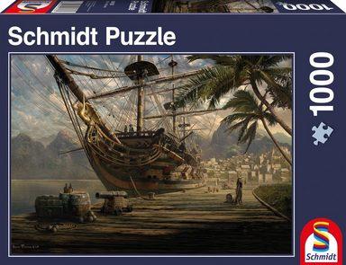 Schmidt Spiele Puzzle »Schiff vor Anker«, 1000 Teilig, Leinenstruktur