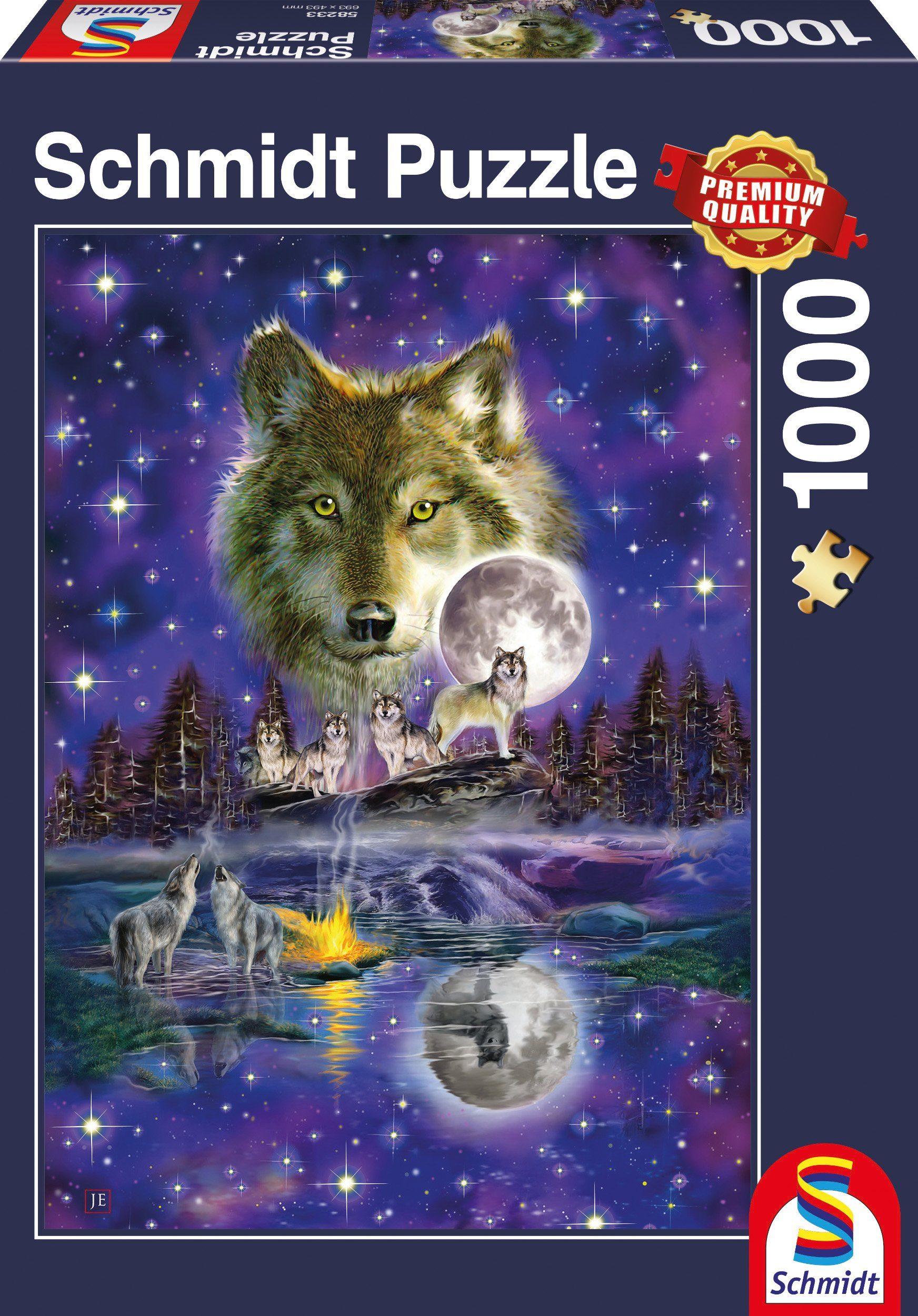 Schmidt Spiele Puzzle mit 1000 Teilen, »Wolf im Mondlicht«