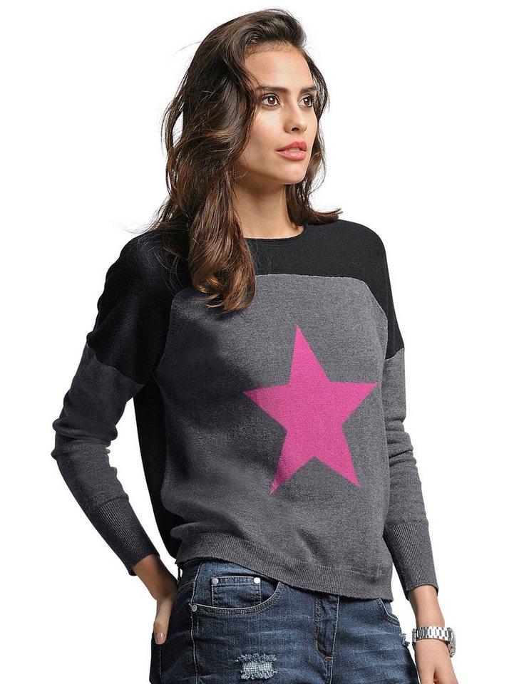 Alba Moda Pullover in schwarz/grau