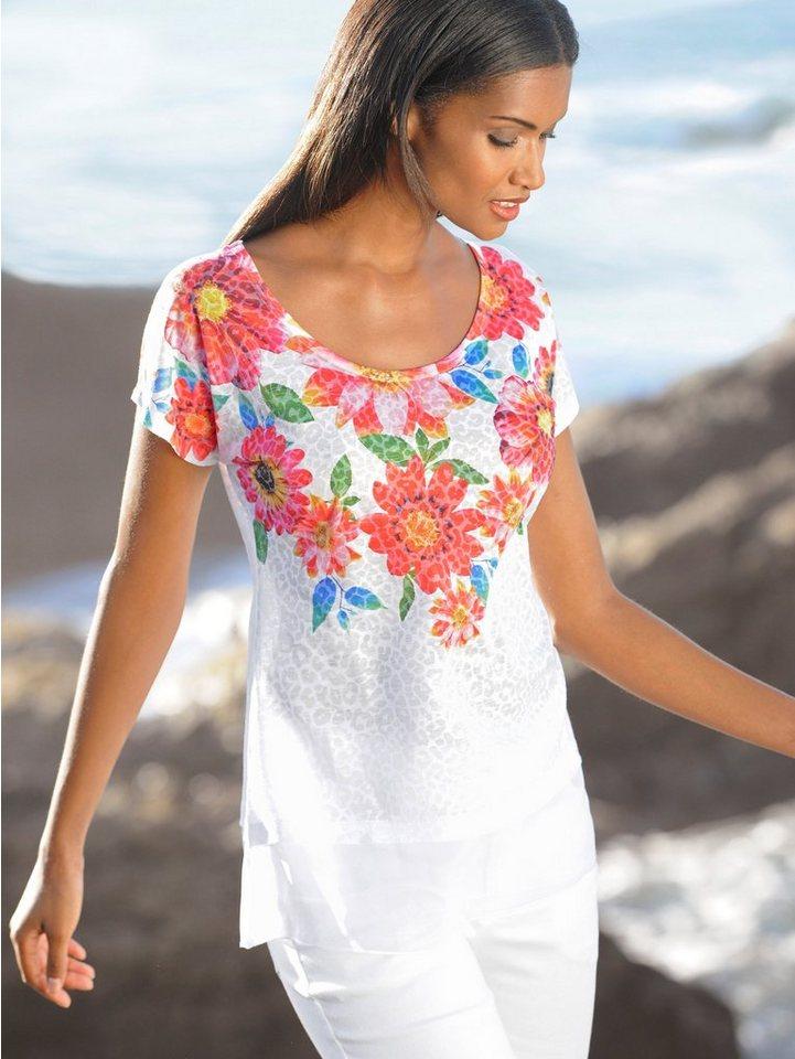 Alba Moda T-Shirt aus Ausbrennerware im Leo-Dessin in weiss/multi