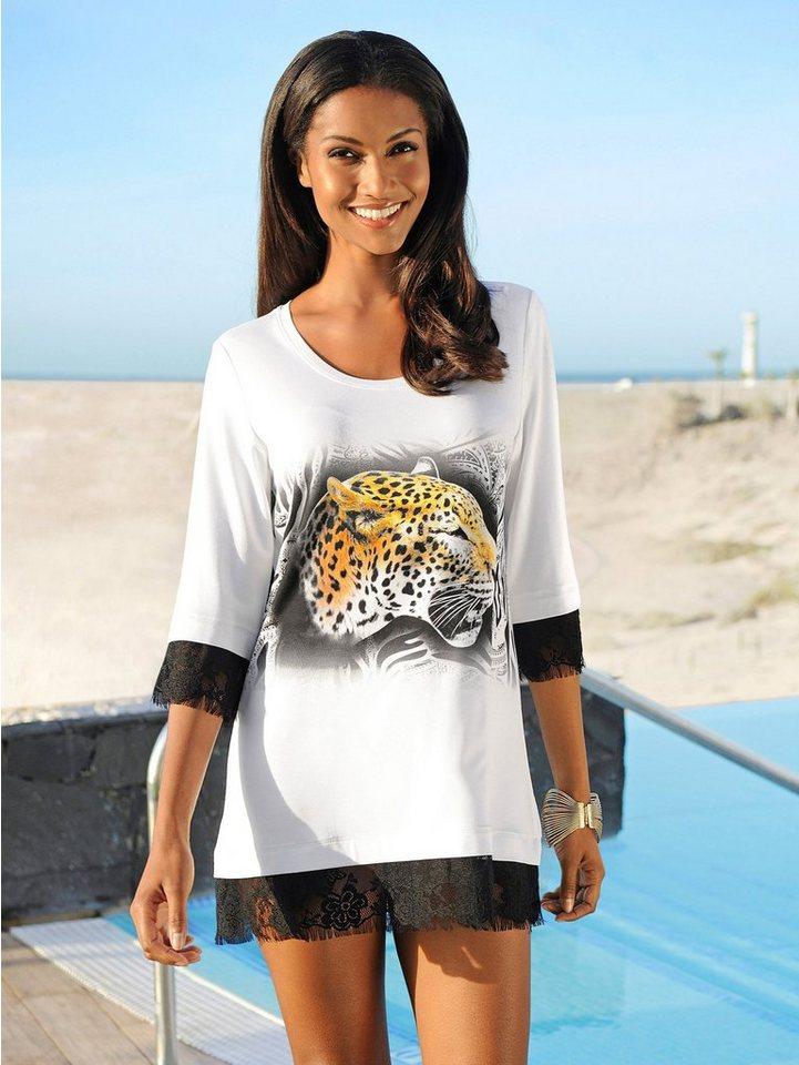 Alba Moda T-Shirt mit Tigerdruck aus schwarz-weißem Dessin in weiß