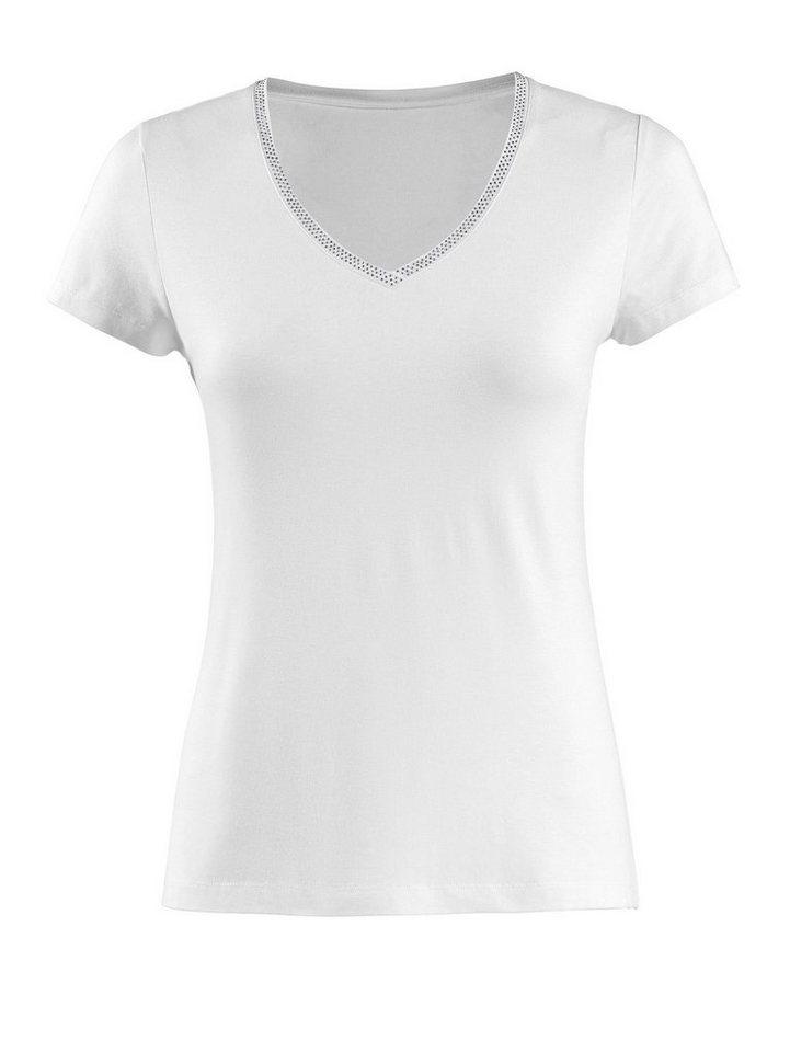 Alba Moda V-Shirt mit Strassapplikation | Bekleidung > Shirts > V-Shirts | Weiß | Viskose | Alba Moda