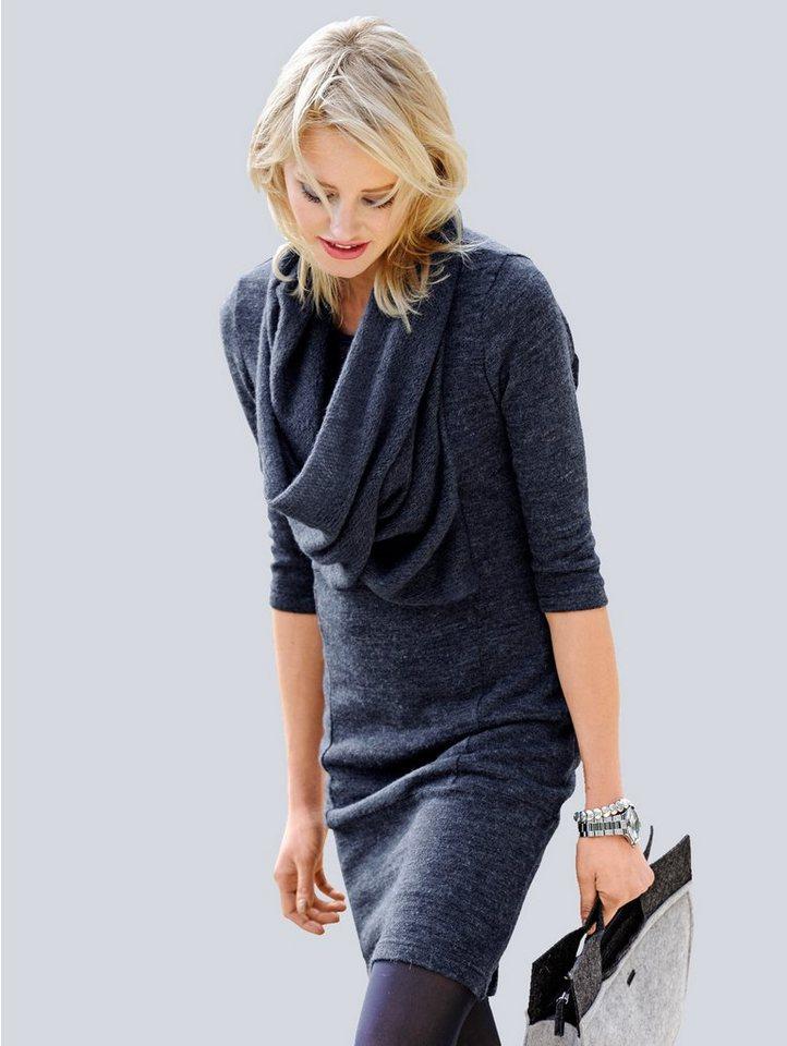 Alba Moda Strickkleid in blaumelange