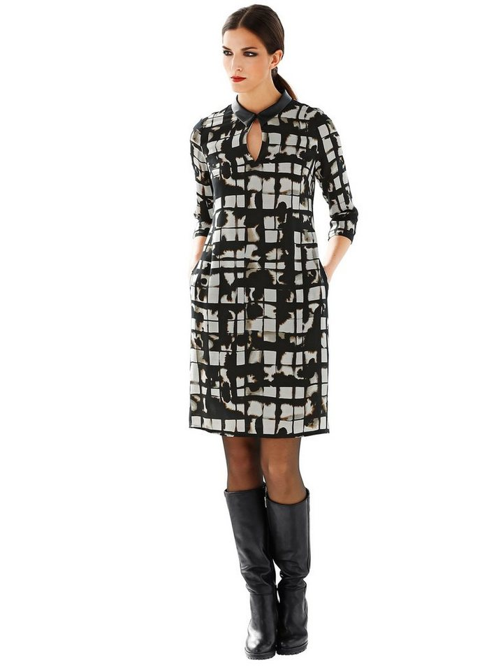 Damen Alba Moda  Tunika-Kleid mit grafischem Dessin braun | 04058439145683