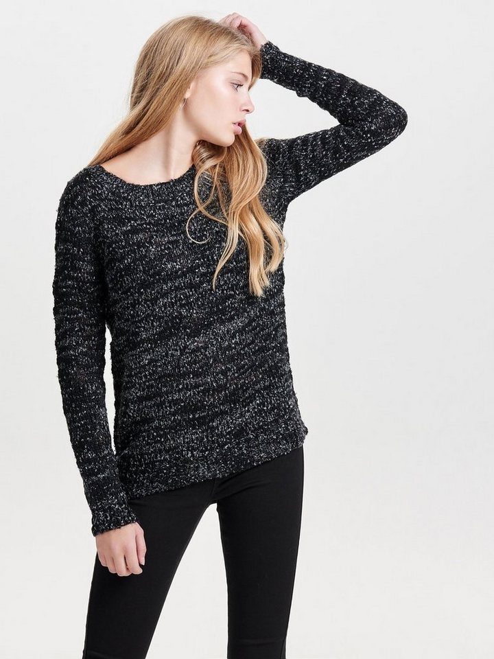 Only Langärmeliger Strickpullover in Black