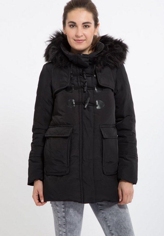 Mexx Daunenmantel mit Kapuze und Duffclecoat Knöpfen in schwarz
