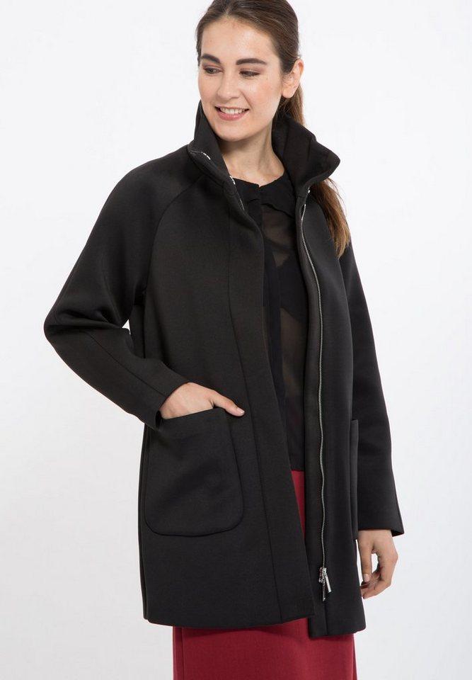 Mexx Kurzmantel mit Raglanarm und großen Taschen in schwarz