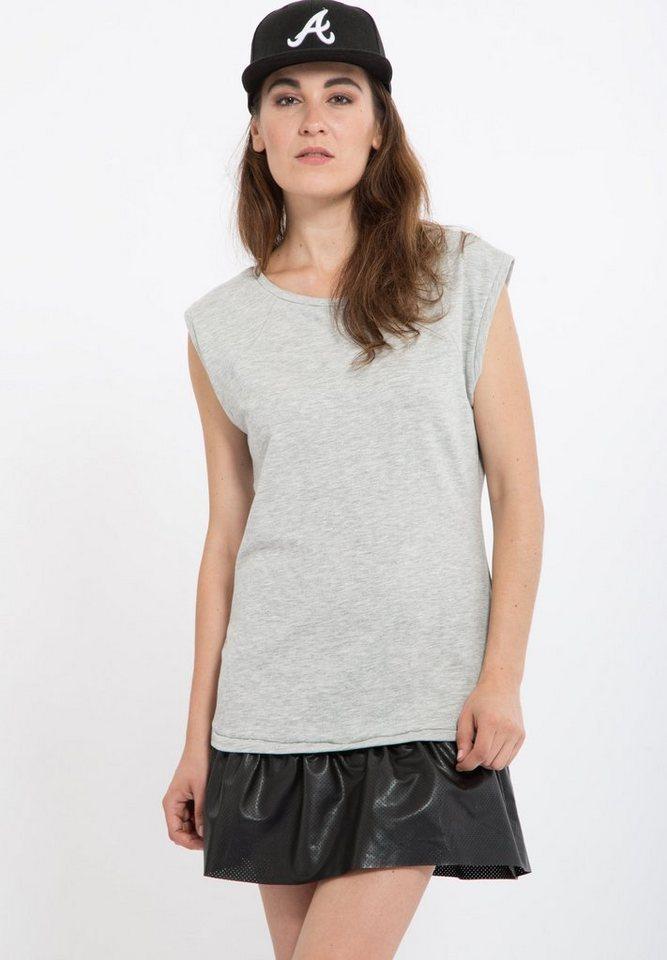 Mexx Sweatkleid mit Volant im Materialmix in grau