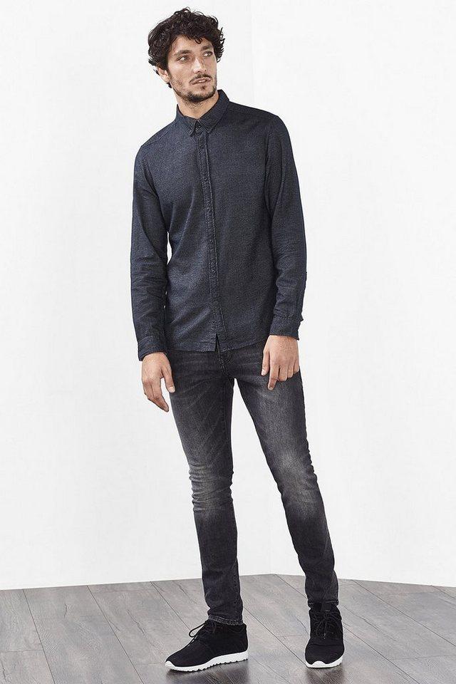 EDC Hemd aus Flanell, 100% Baumwolle in ANTHRACITE