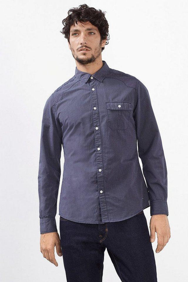 EDC Gestreiftes Hemd, 100% Baumwolle in NAVY