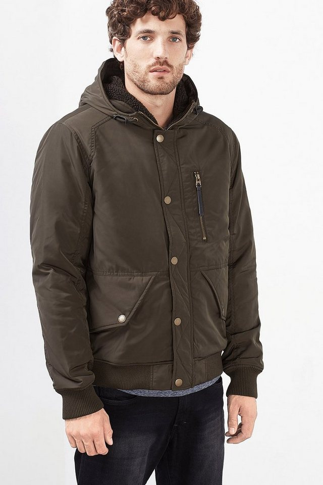 EDC Wattierte Nylon Bomber-Jacke in DARK GREEN