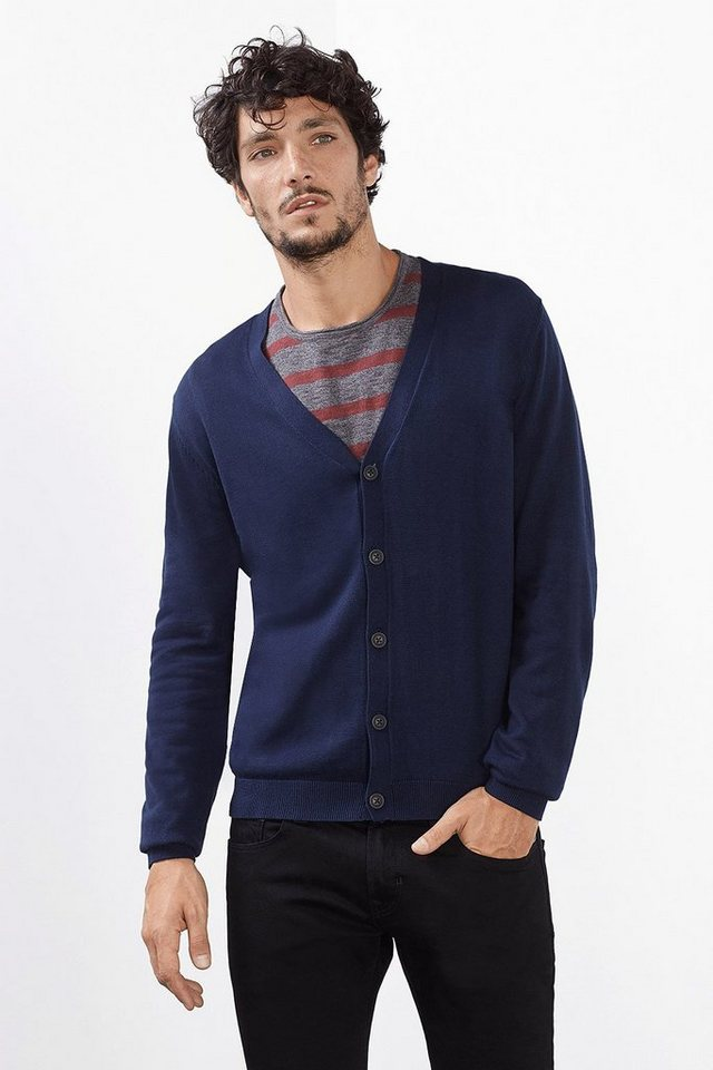 EDC Basic Cardigan, 100% Baumwolle in NAVY