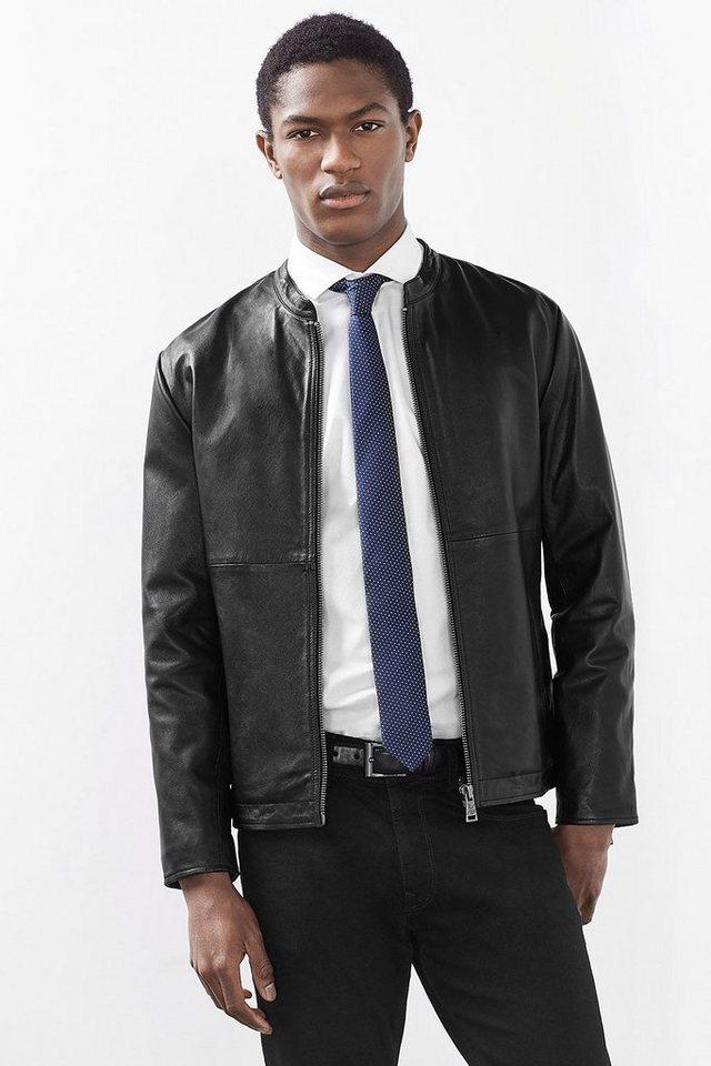 ESPRIT COLLECTION Ziegenleder Jacke in dezentem Biker-Stil in BLACK