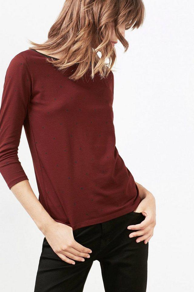 EDC Shirt mit Allover-Pünktchen-Print in BORDEAUX RED