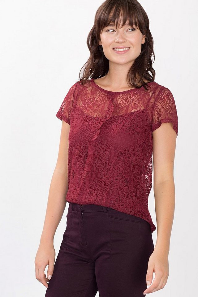 ESPRIT COLLECTION T-Shirt aus Spitze mit Top in GARNET RED