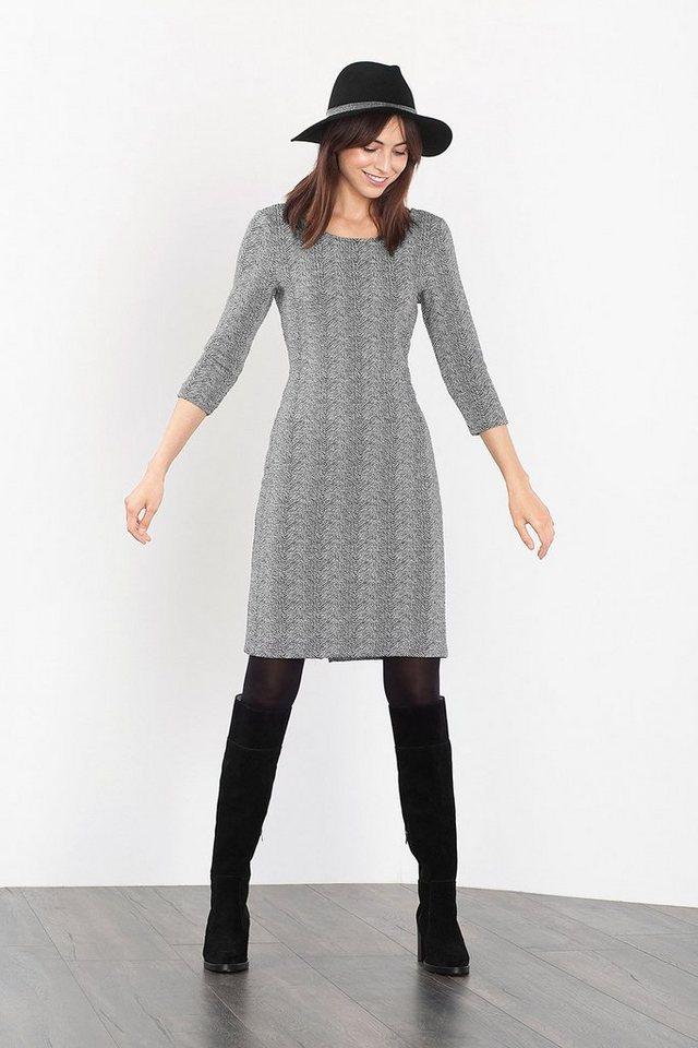 ESPRIT CASUAL Strukturiertes Jersey-Kleid im 2-tone-Look in BLACK