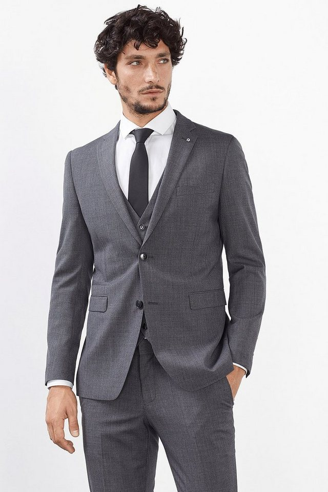 ESPRIT COLLECTION Woll-Mix Sakko mit Hahnentrittmuster in GREY