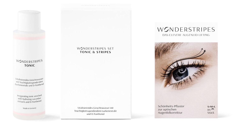 Wonderstripes, »Starter-Set« Augenlid-Korrektur Pflaster in 3 Größen & Erfrischendes Tonic