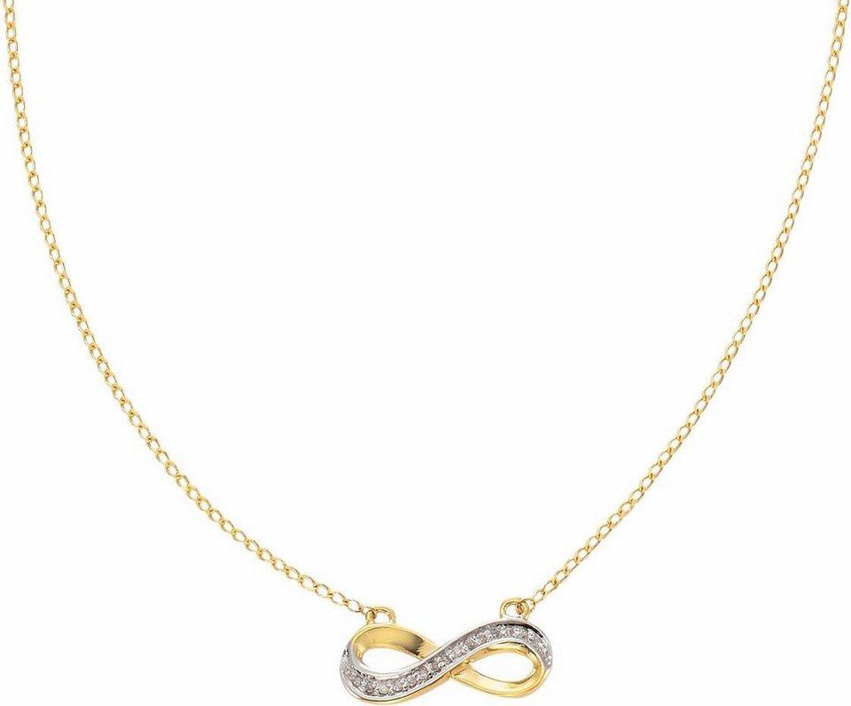 Vivance jewels Kette mit Anhänger »Infinity« mit Diamanten in Gelbgold 375