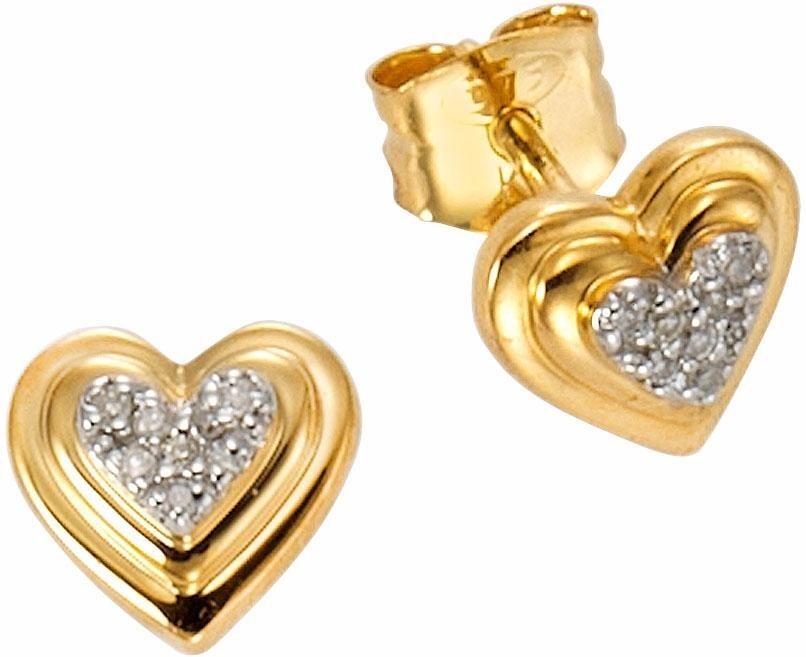 Vivance jewels Paar Ohrstecker mit Diamanten in Gelbgold 375