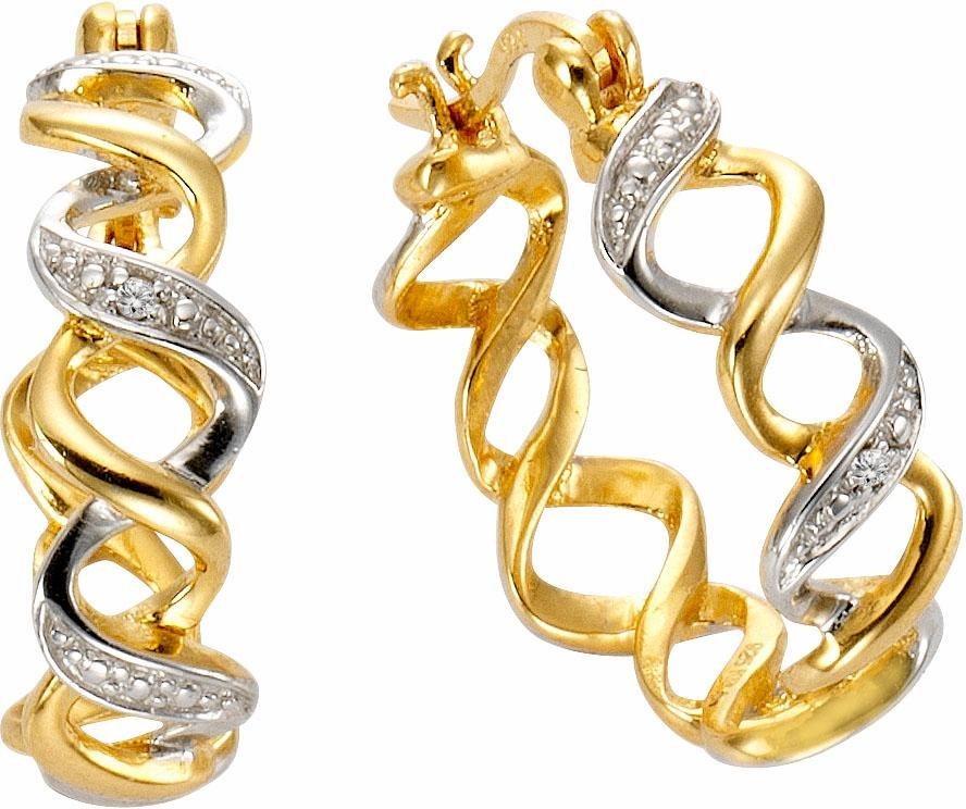 Vivance jewels Paar Creolen mit Diamanten in Silber 925-goldfarben