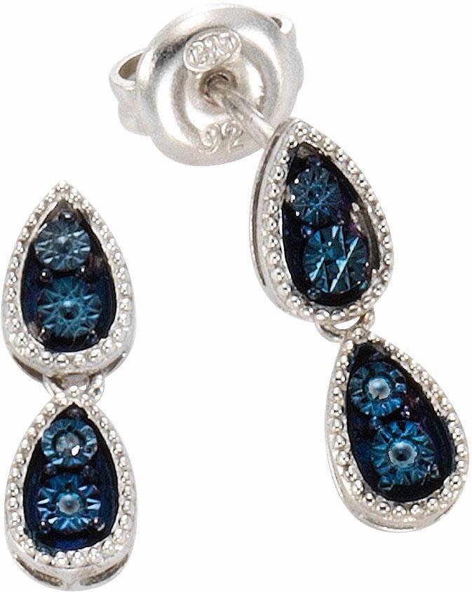 Vivance jewels Paar Ohrstecker mit Diamanten in Silber 925-blau