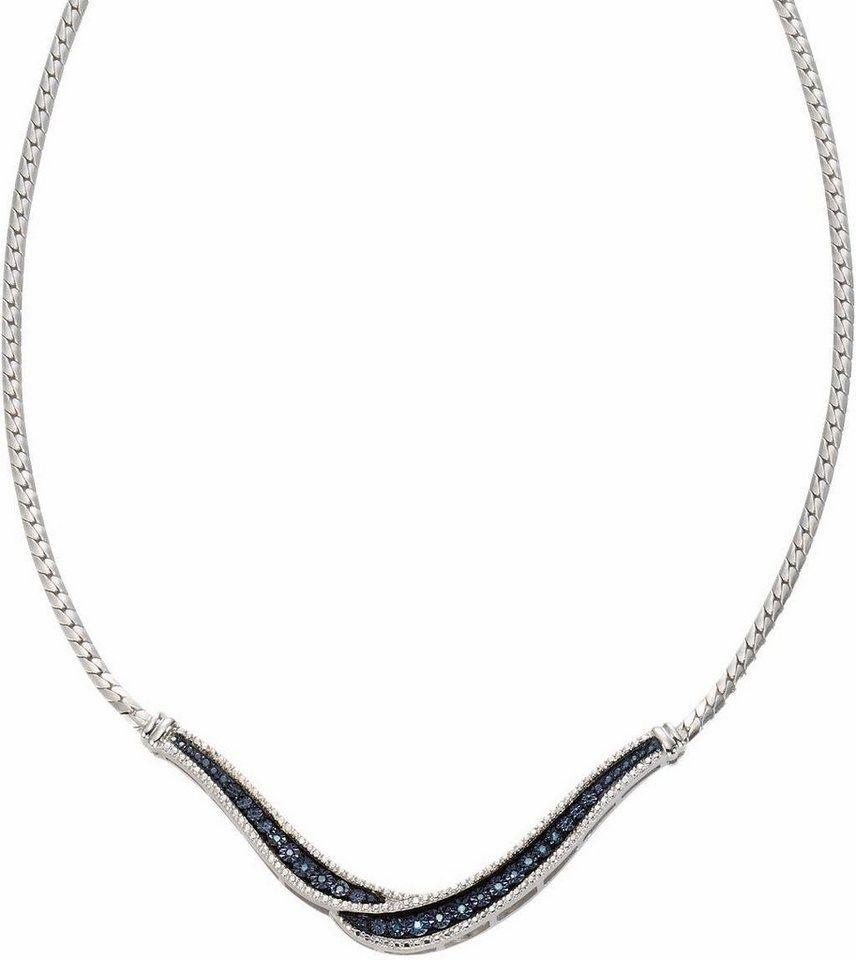 Vivance jewels Collier mit Diamanten in Silber 925-blau