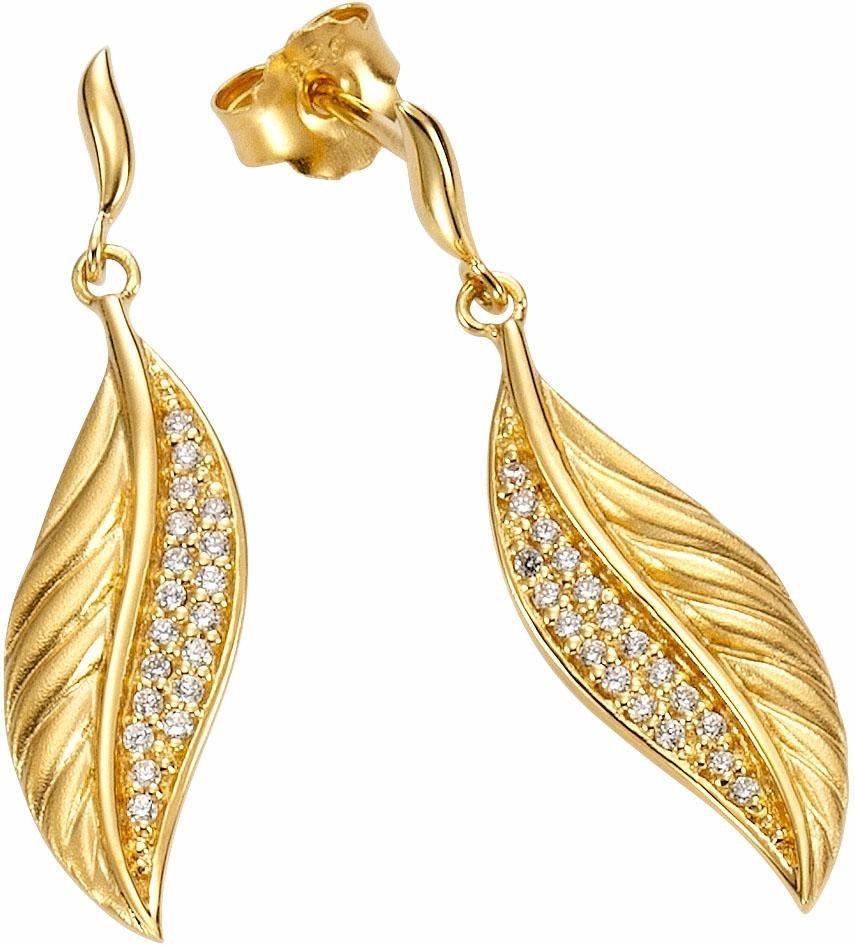 Firetti Paar Ohrstecker »Blatt« mit Zirkonia in Silber 925-goldfarben