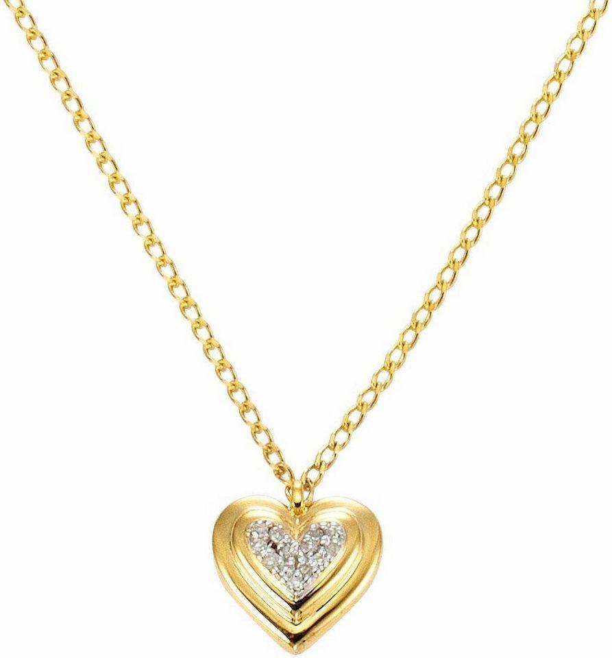 Vivance jewels Kette mit Anhänger »Herz« mit Diamanten | Schmuck > Halsketten > Herzketten | Goldfarben | Vivance jewels