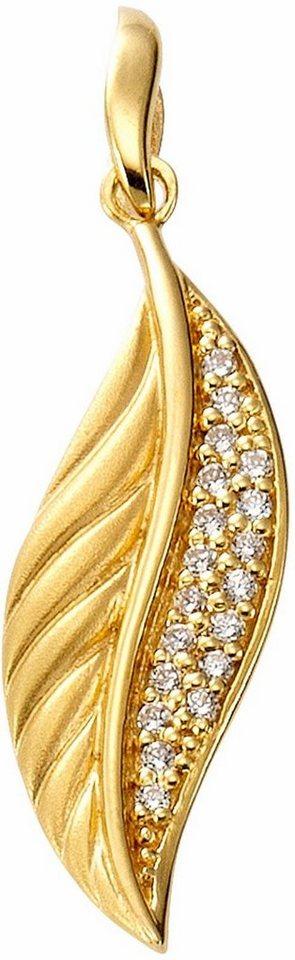 Firetti Kettenanhänger »Blatt« mit Zirkonia in Silber 925-goldfarben