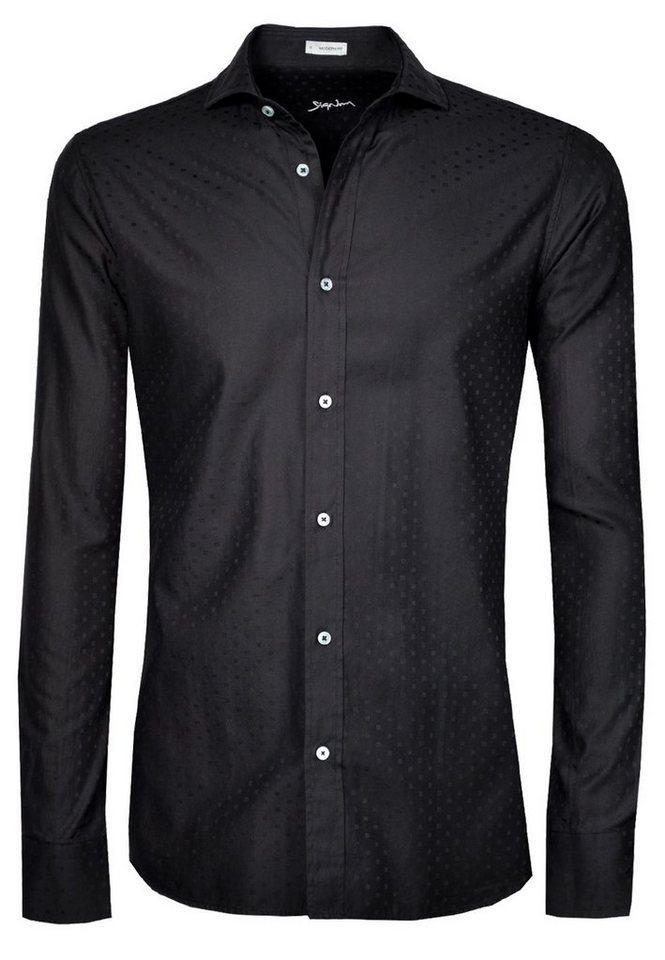 Signum Langarmhemd mit eingewebten Karos in black