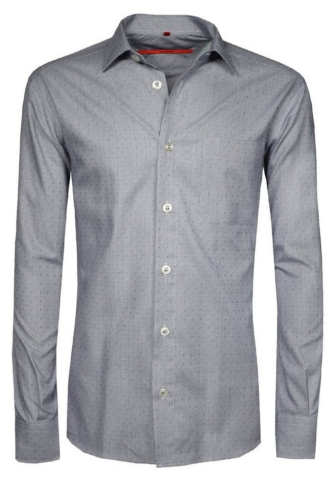 Signum Feines Langarmhemd mit eingewebtem Muster in peacoat blue