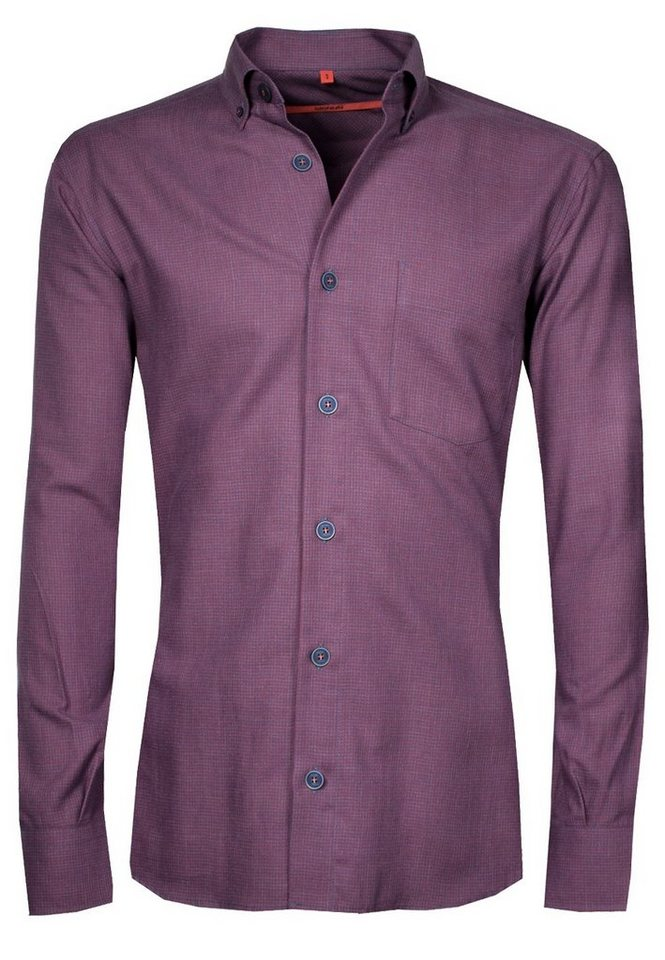 Signum Leicht flanelliges Hemd mit Button-Down-Kragen in purple potion