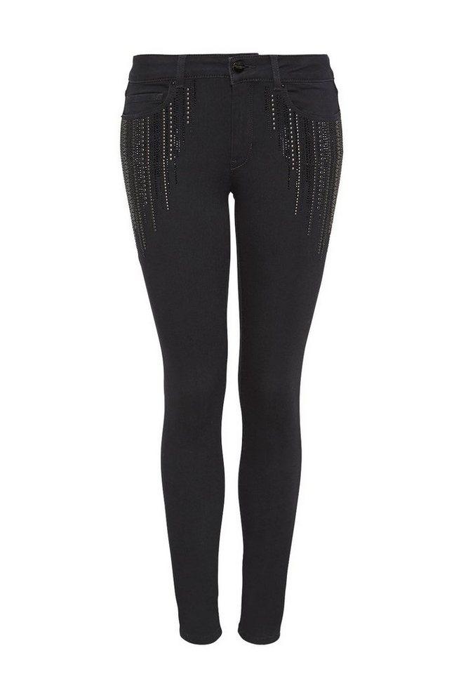 HALLHUBER Skinny Jeans mit Nieten und Strass in black denim