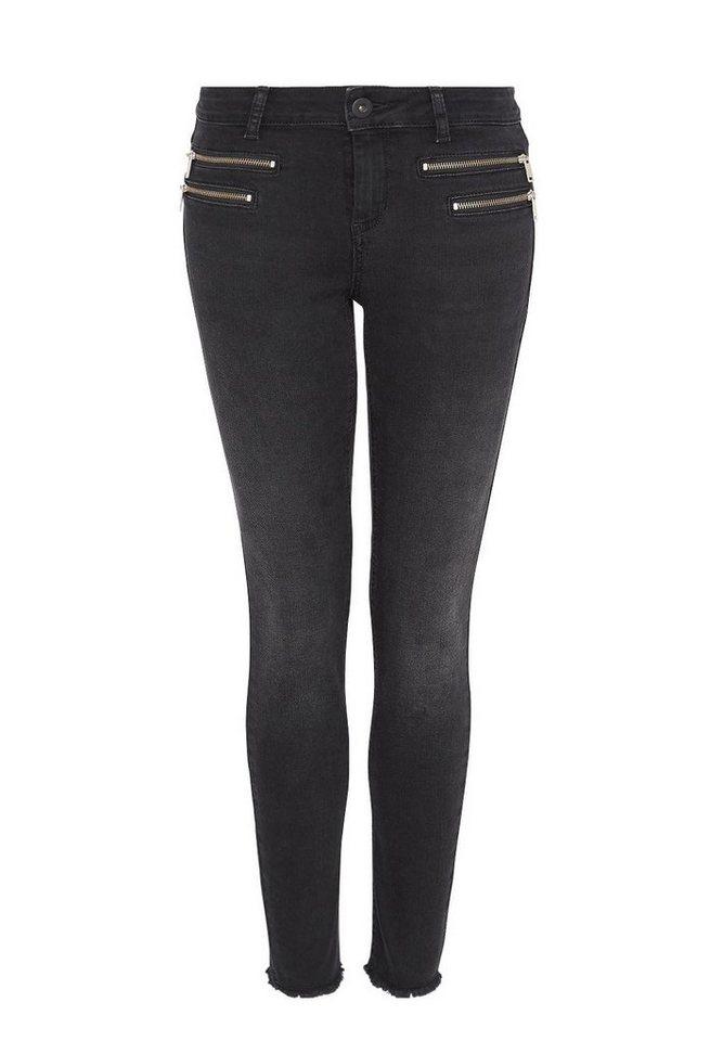 HALLHUBER Cropped Skinny Jeans mit Zippern in black denim