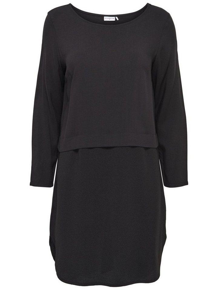 Only Stoffmix- Kleid mit langen Ärmeln in Black