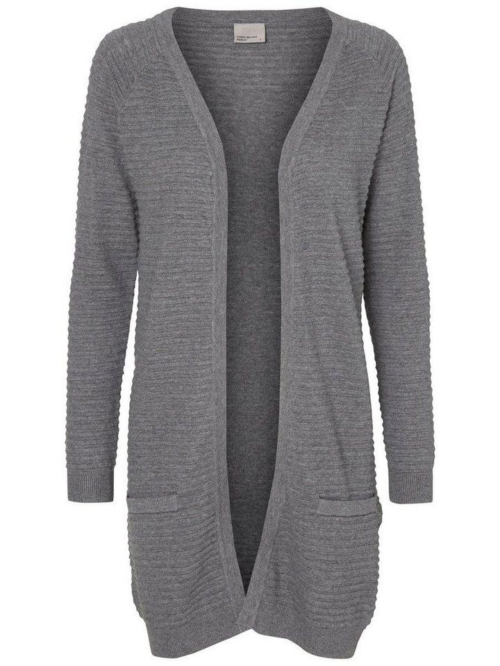 Vero Moda Lange Strickjacke in Medium Grey Melange