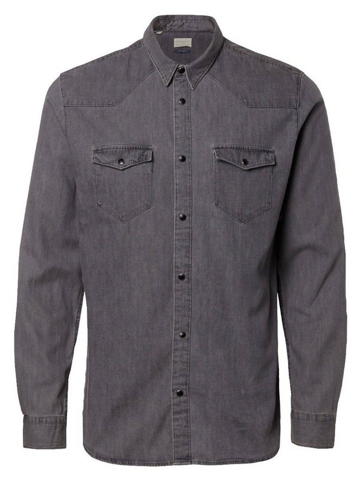 Selected Slim-Fit- Langarmhemd in Grey Denim