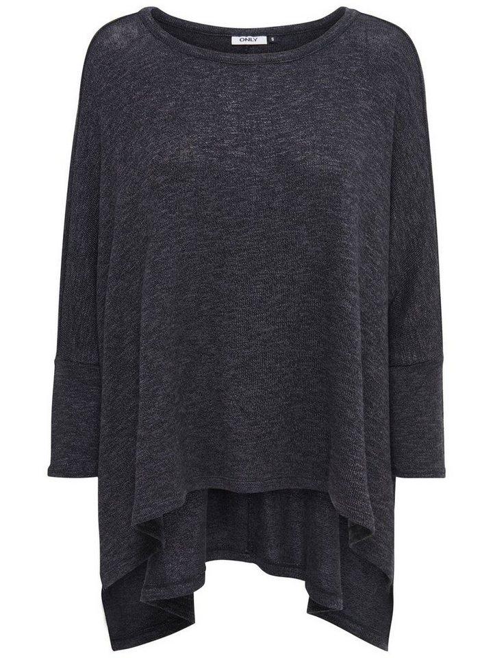 Only Oversize- Strickoberteil in Dark Grey Melange