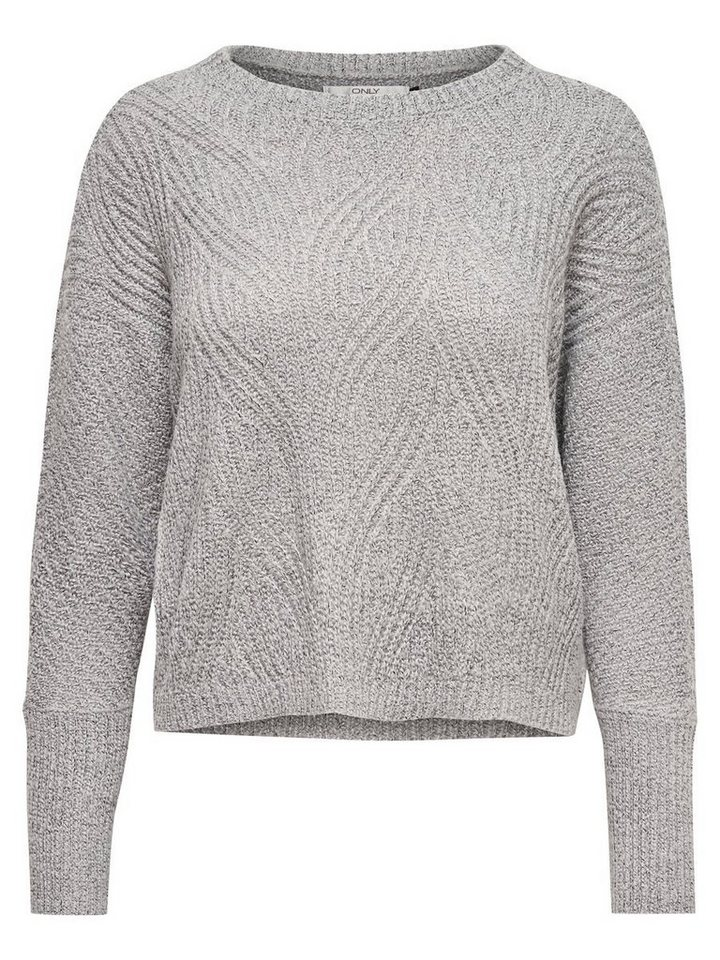 Only Lässiger Strickpullover in Light Grey Melange