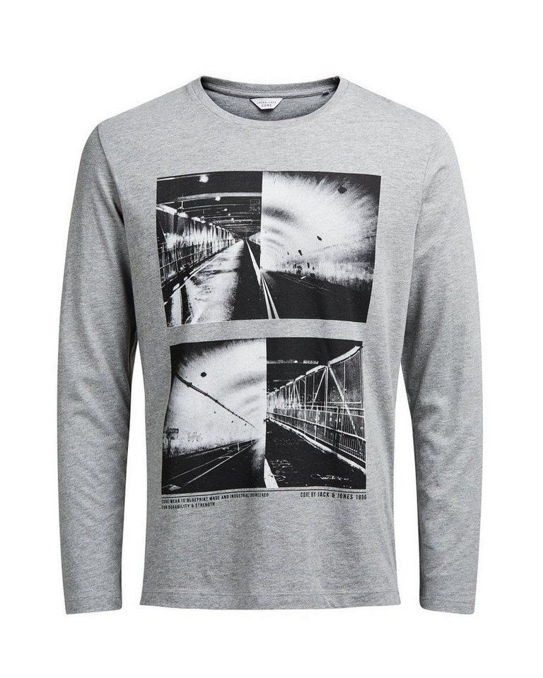 Jack & Jones Grafik- T-Shirt mit langen Ärmeln in Light Grey Melange