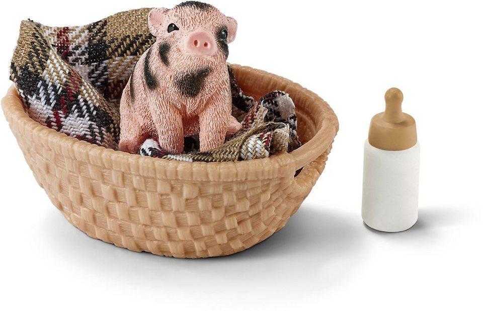 Schleich® Spielfigur, »Farm World, Mini Schwein mit Fläschchen«