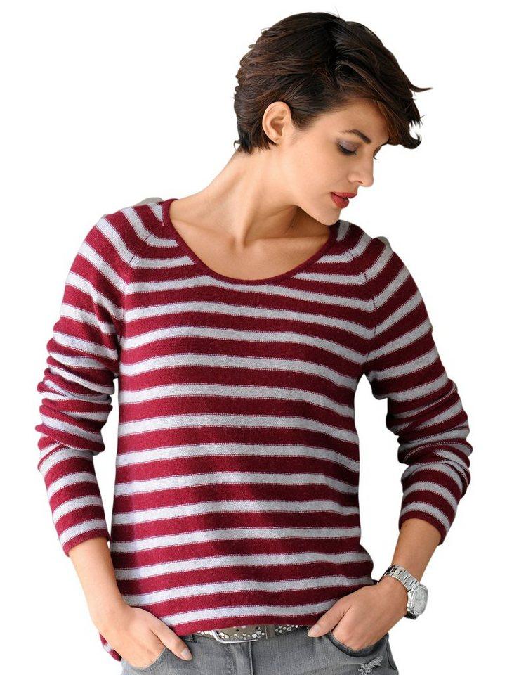 Alba Moda Pullover in grau/bordeaux