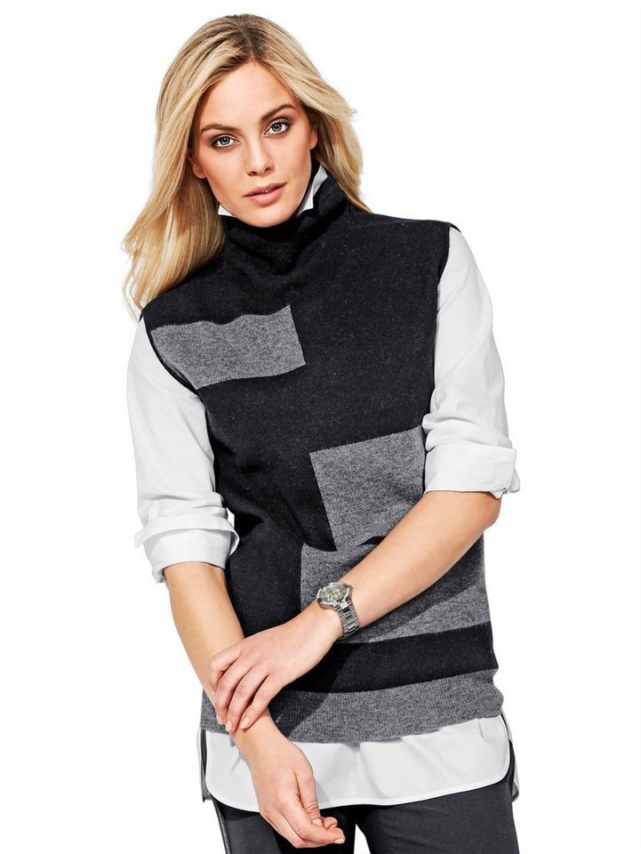 Alba Moda Pullover in grau/schwarz