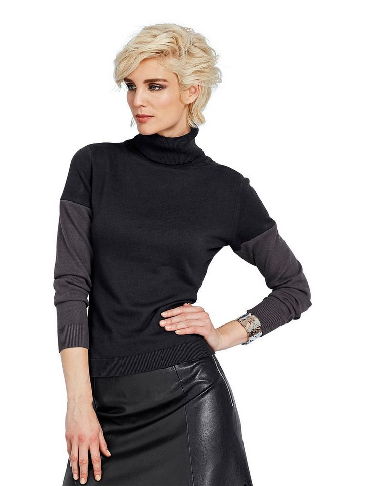 Alba Moda Rollkragenpullover in schwarz/grau