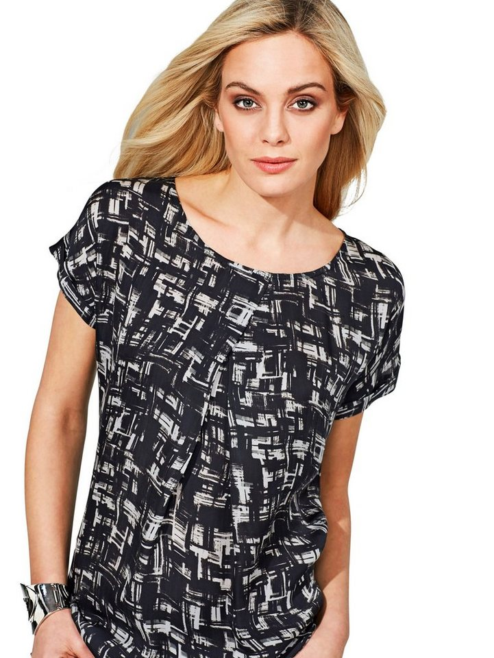 Alba Moda Druckblusenshirt in schwarz/grau/offwhite