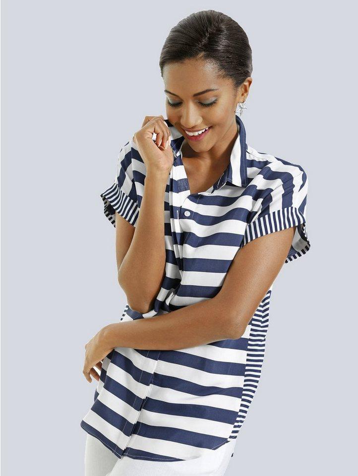 Alba Moda Blusenshirt im Streifenmix in navy/weiß