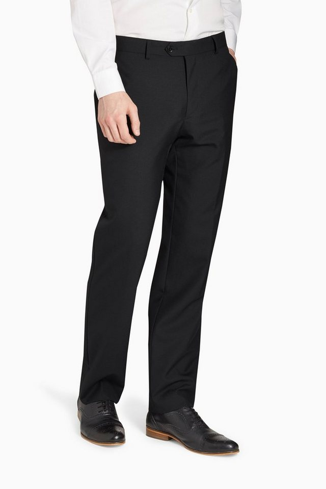 Next Baukastenhose aus reiner Wolle in Black Tailored-Fit