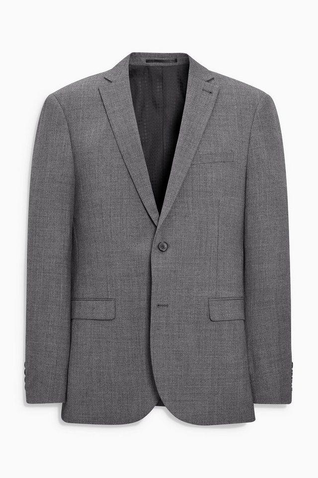 Next Tailored-Fit Baukastensakko aus Wollmix mit Textur in Light Grey Tailored-Fit